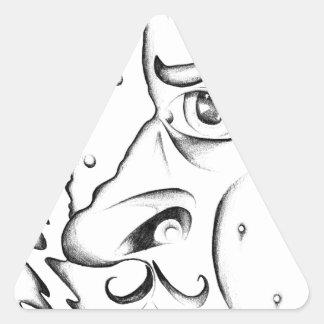 Face drawing sketch art handmade triangle sticker