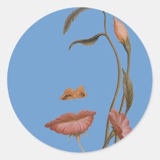 Face Flower Illusion Classic Round Sticker