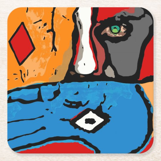 Face in blue and orange coaster