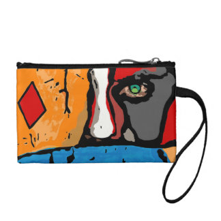Face in blue and orange coin purse