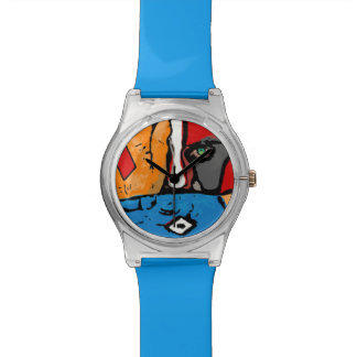 Face in blue and orange wrist watch