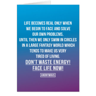 Face life's problems card