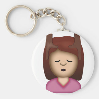 Face Massage Emoji Basic Round Button Keychain