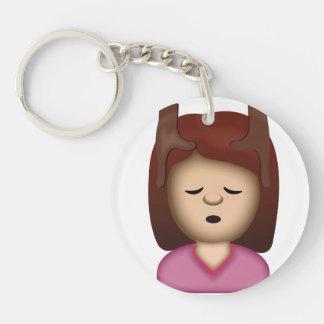 Face Massage Emoji Double-Sided Round Acrylic Keychain
