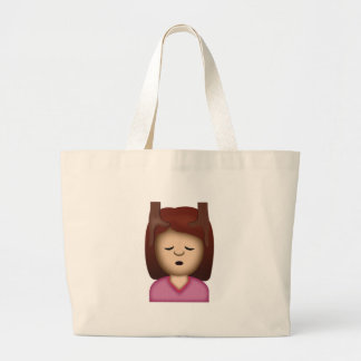 Face Massage Emoji Large Tote Bag