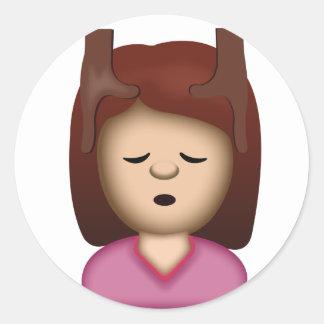 Face Massage Emoji Round Sticker