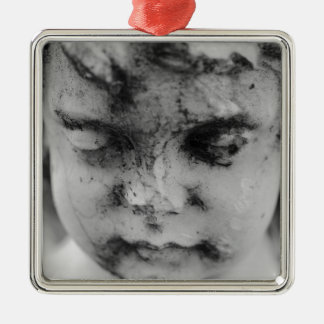 Face of a cherub Silver-Colored square ornament