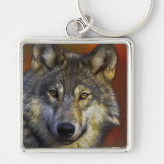 Face of a Wolf Photo Keychain