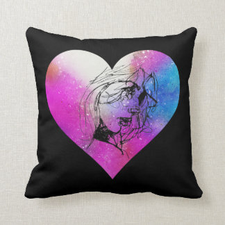 Face Of A Woman Portrait In Abstract Heart Throw Pillow