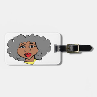 face of cartoon  old women black luggage tag