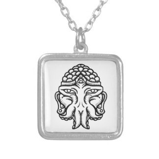 Face of Cthuda Silver Plated Necklace