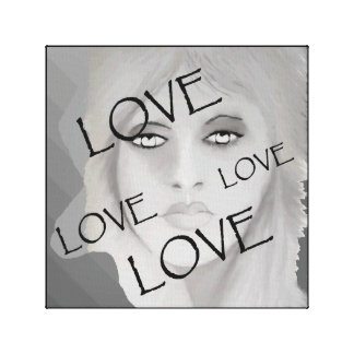 Face of Love by Lin Masters on Black/White/Gray Canvas Print