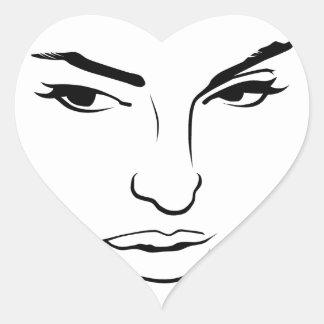 Face of Woman Heart Sticker