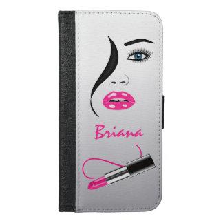 Face Pink Lipstick Kiss Mirror Phone 6 Plus Folio iPhone 6/6s Plus Wallet Case