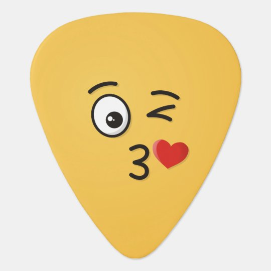 Face Throwing a Kiss Guitar Pick