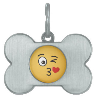 Face Throwing a Kiss Pet ID Tag