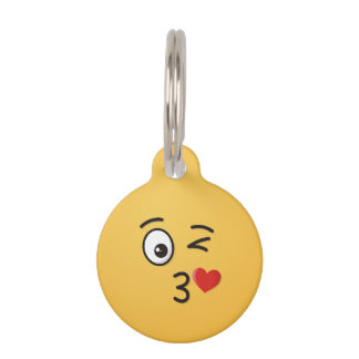 Face Throwing a Kiss Pet Tag