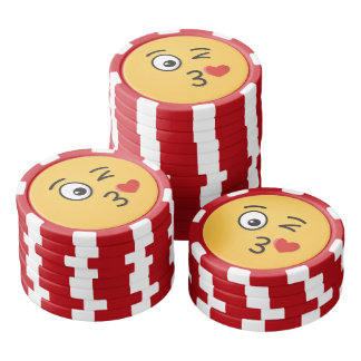 Face Throwing a Kiss Poker Chips