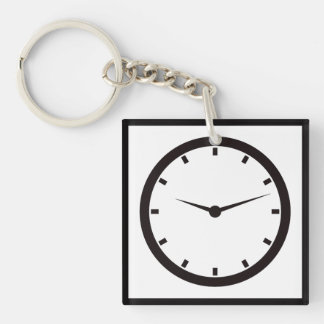 Face Time Clocked Double-Sided Square Acrylic Keychain