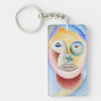 Face with circles Double-Sided rectangular acrylic keychain