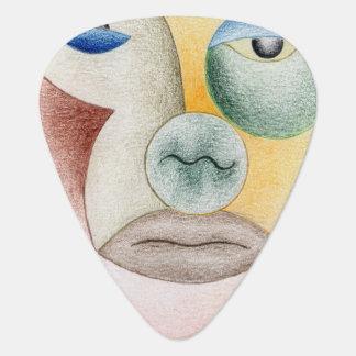 Face with circles guitar pick