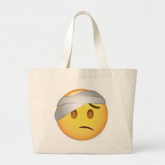 Face With Head-Bandage Emoji Large Tote Bag