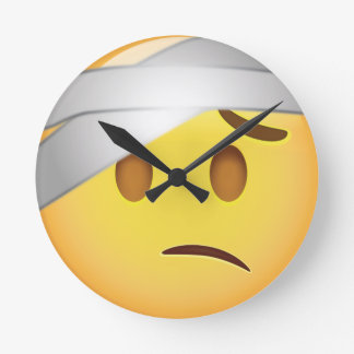Face With Head-Bandage Emoji Round Clock