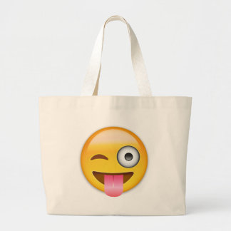 Face With Stuck Out Tongue And Winking Eye Emoji Jumbo Tote Bag