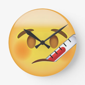 Face With Thermometer Emoji Round Clock