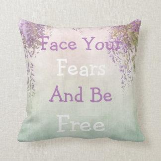 'Face your fears' vintage motivational pillow