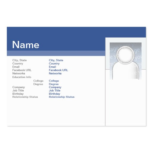 Facebook - Chubby Large Business Cards (Pack Of 100)