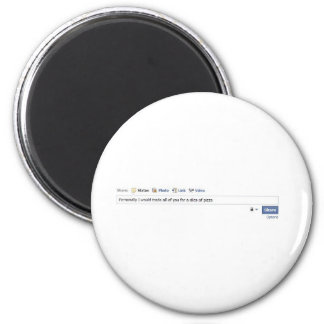 Facebook Friends and Pizza 2 Inch Round Magnet