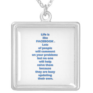 Facebook funny text square pendant necklace