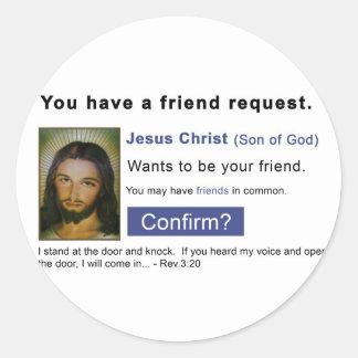 Facebook jesus round stickers