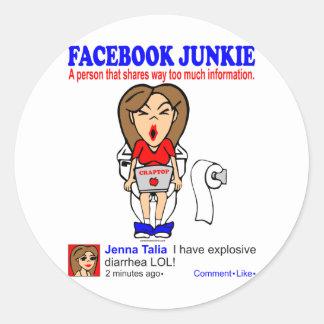 FACEBOOK JUNKIE ROUND STICKER