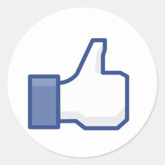 Facebook Like Hand Round Sticker