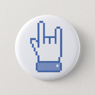 facebook like ROCK peace hand sign pixel graphic 2 Inch Round Button