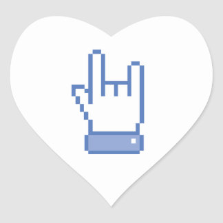 facebook like ROCK peace hand sign pixel graphic Heart Stickers