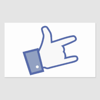 Facebook like You Rock thumb Rock and Roll icon Rectangular Sticker