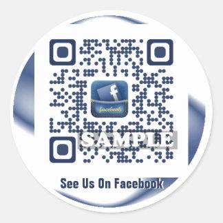 Facebook QR Code Sticker (Template Net2tag QR#540) Round Sticker