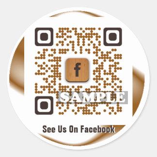 Facebook QR Code Sticker (Template Net2tag QR#544) Round Sticker