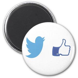 Facebook Twitter 2 Inch Round Magnet