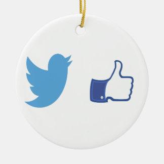 Facebook Twitter Ceramic Ornament