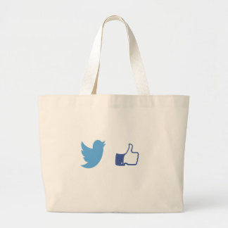Facebook Twitter Large Tote Bag
