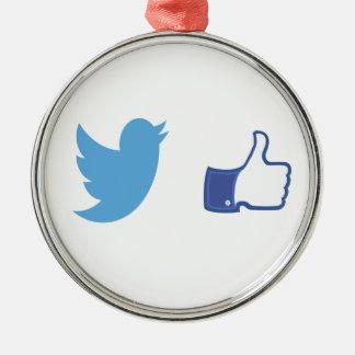 Facebook Twitter Metal Ornament