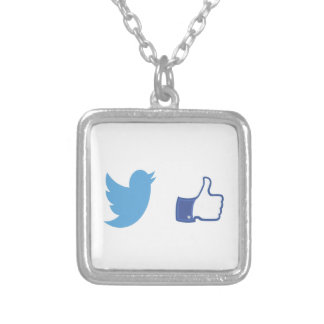 Facebook Twitter Silver Plated Necklace