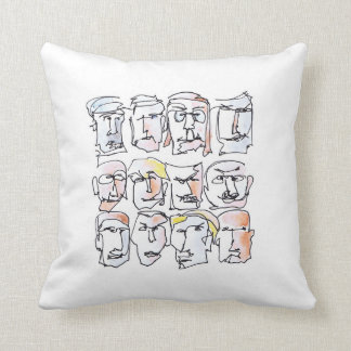 Faces facial expressions water color illustration throw pillow