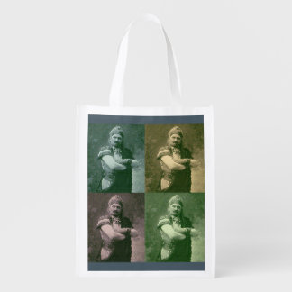 faces of 1909 crazy French opera singer Reusable Grocery Bag