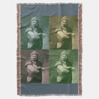 faces of 1909 crazy French opera singer Throw Blanket