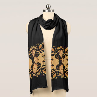 Faces of a Woman Tapestry on Black/Tan/Creme Scarf
